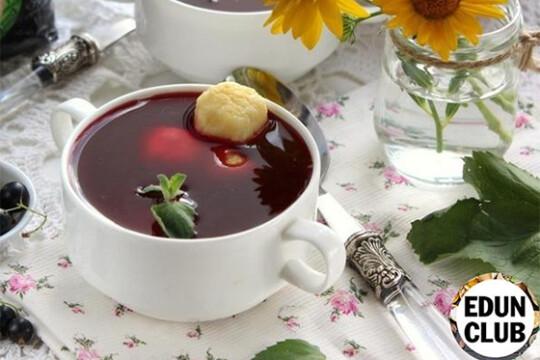 Суп из черной смородины с творожными клецками